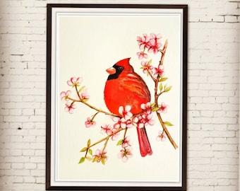 Watercolor artwork,original painting, red cardinal, bird art, wall décor, home décor, not print,northern American bird, landscape, wildlife