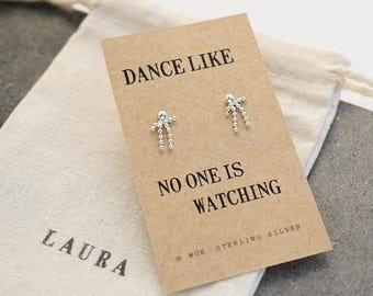 Dancing Man Silver Ball Earrings