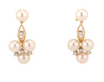 Pearl & Diamond Dangle Earrings in 14K Yellow Gold With 0.80 CTW Round Diamonds