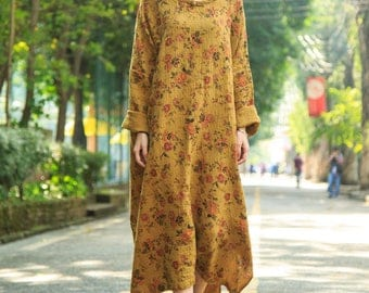 Women Yellow Kaftan Ethnic clothing Floral Dress, Line Dress Maxi Dress Comfortable Dress, Asymmetrical Tunic Dress Plus Size Clothing