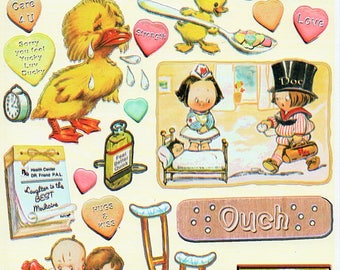 Feel Better Sick Heartwarming Vintage Stickers Crafty Secrets Scrapbook Embellishments Card Making