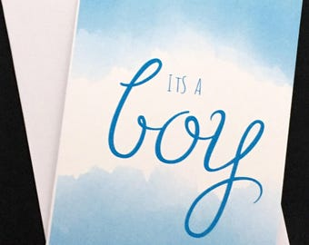 """Its a Boy card, typography and clouds 5""""x7"""" card, blue, baby announcement, baby boy, boy birth announcement"""