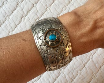 Gorgeous Vintage Sterling Silver and Turquoise Cuff  ** FREE SHIPPING **