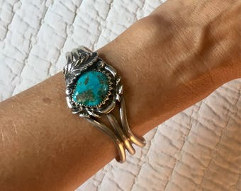 Vintage Navajo Sterling Silver and Turquoise Bracelet Cuff SIGNED