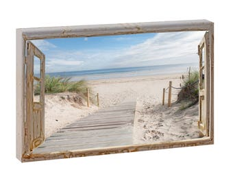 Window image path to the beach picture Beach sea stretcher canvas poster XXL 120 cm * 80 cm 624-across-Sonderanfertigungen like to possible