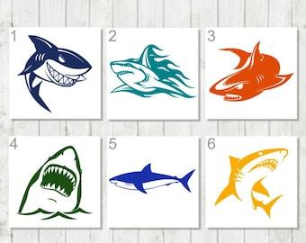 Shark Decal, Ocean Life Decal, Shark Lover Gift, Great White Decal, Shark Tumbler Decal, Shark Laptop Decal, Fisherman Decal, Shark Decor