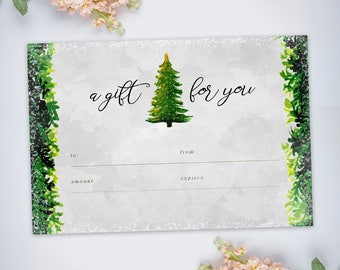 4x6 Gift Certificate, Christmas Holiday Watercolor Pine | Instant download | Printable