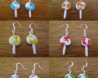pair of dangle earrings, flat lollipops choice