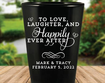 "Custom ""Love Laughter and Happily Ever After"" Wedding Favor Black Shot Glasses"