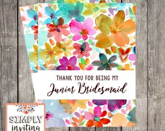 Junior Bridesmaid Thank You Card, Printed Note Card, Thank You for Being in My Wedding, Floral Watercolor, Wedding Party Thank You