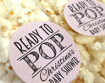 Ready to pop stickers, she's about to pop, baby shower stickers, baby shower favour, popcorn favour stickers, 121 - Pink