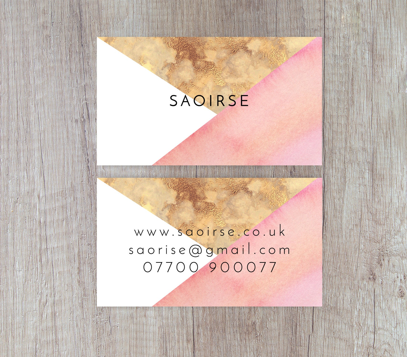 pink business card watercolour business card gold foil