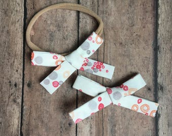 Nora Bow || Orange and Gray Floral