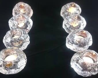 Sweden Crystal Kosta Boda Snowball Round Votives Candle Holders