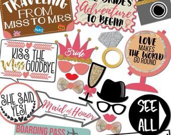 Travel Theme Bridal Shower - 30 Printable Props, Globe, Maps, Journey Awaits, Bride, Ring, Maid of Honer, Bridesmaid - INSTANT PDF DOWNLOAD