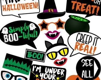 Halloween Photo Booth Props - 28 Printable Props, Pumpkin, Witch, Vampire, Skull, Frankenstein, Trick or Treat, Candy - INSTANT PDF DOWNLOAD