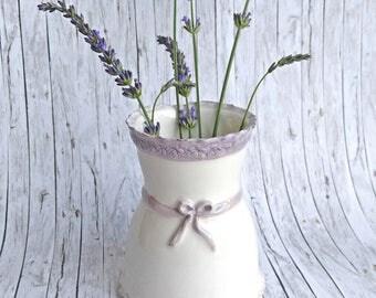 White Ceramic Vase Bud Vase Shabby Vase Shabby Chic Decor Pottery Vase Shabby Chic Ceramic Flower Vase White Home Decor White Vase