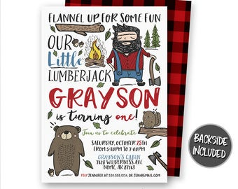 Lumberjack Invitation, Lumberjack Birthday Invitation, Bear Invitation, Red Flannel Invitation, Forest, Invites, Personalized, Printables