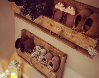 Unique shabby chic pallet wood floating shoe rack ideal storage solution