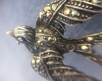 Sterling Silver Marcasite Swallow Brooch Pin. 1930-40's