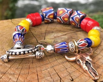 Trade Bead Bracelet, Trade Bead Jewelry, Ethnic Jewelry, Ethnic Bracelet, Cow Skull, Ethnic Beads, Trade Beads, Antique Beads, African Beads