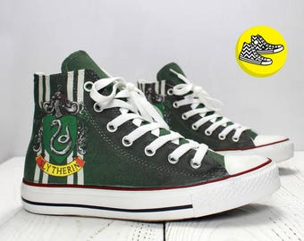 Slytherin custom high top converse sneakers Harry Potter Hogwarts college shoes