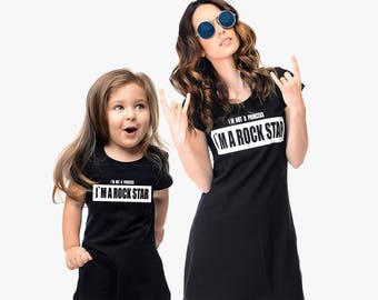 Halloween Costume Kid, Black Halloween Dresses, Matching Mother And Daughter Dresses, Rock Star, Black Dresses, Mom And Daughter Set