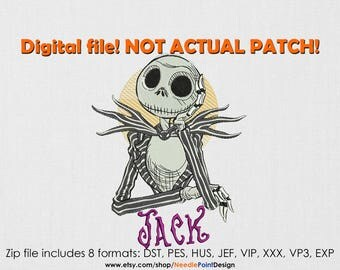 Jack Skellington machine embroidery design. The Nightmare Before Christmas. Jack Skellington embroidery. Embroidery file