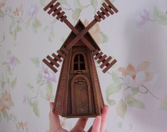 Windmill .Vegetable garden. Miniature Dollhouse. 1:12 Scale