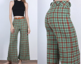 Plaid 70s Pants // Vintage Bell Bottom Flare Wool Trousers High Waisted Womens - Small
