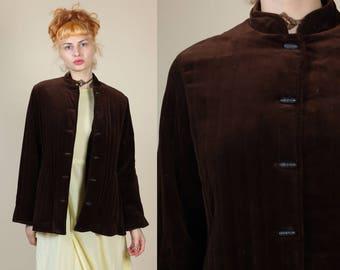 70s Velvet Nehru Jacket // Vintage Brown Mandarin Collar Button Up Blazer Coat - Medium