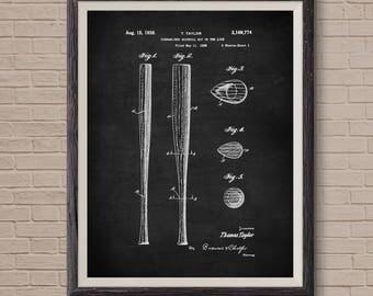 Baseball Bat, Patent Poster, Baseball Coach Gift, Boys Room Wall Art, Baseball Wall Art, Sports Decor, Patent Poster Wall Decor