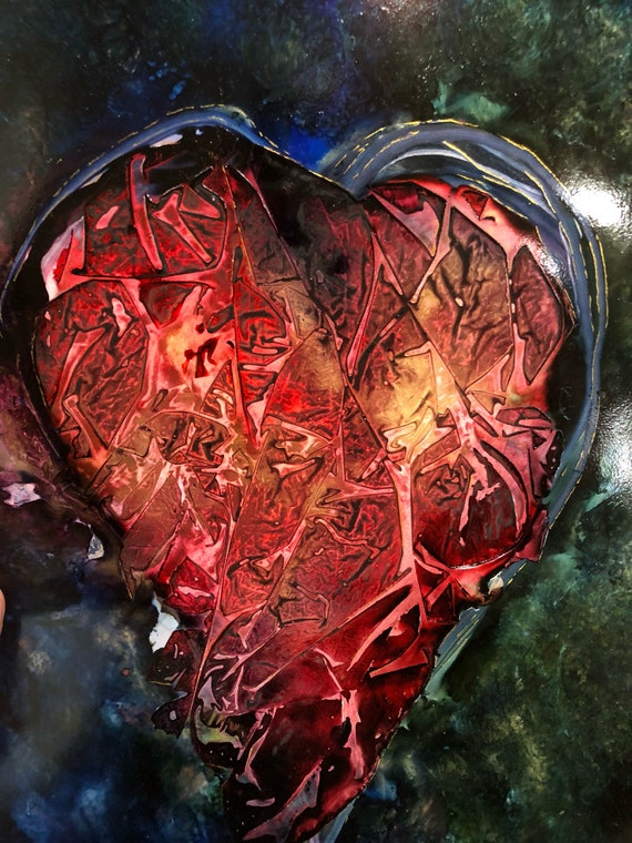 """Original Alcohol Ink Abstract """"Heart: Reconstruction"""" (11"""" X 14"""")"""