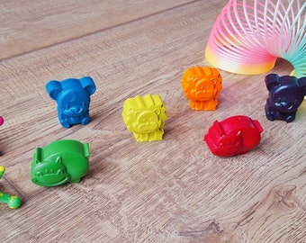 Jungle wax crayons, set of 6,  handmade. Great for colouring adventures, birthday gifts, party bags and wedding favours.