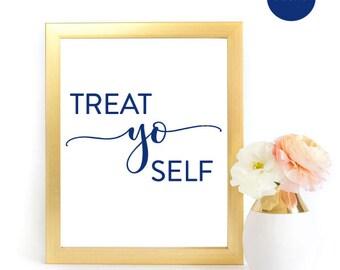 Treat Yo Self Sign, Navy Treat Yo Self, Navy Wedding Sign, Wedding Sign, Dessert Bar Sign,  Dessert Table Sign, Dessert Wedding Sign