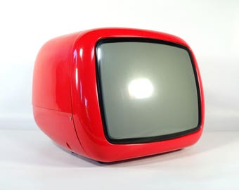 Vintage Portable TV Set / From Yugoslavia / Iskra Minirama / 70's Retro Television Set -/ Red / Working Condition / Vintage Space Age TV
