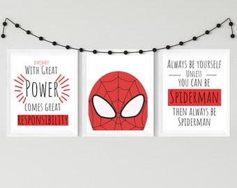 Nursery Print Spiderman Print Set, Superhero Prints, Nursery Decor, Nursery wall Art, Kids wall Art, Superhero Art, Typography Prints, Boys