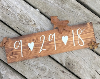 Save The Date Sign, Wedding Date, Engagement Photos, Photo Props, Hand Lettered, Hand Painted, Wood Sign
