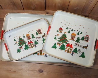 3 Matching Vintage Christmas Serving Nesting Trays Holiday Foods Desserts Drinks Hostess Tray Folk Art Snowy Town Home Sleigh Party Event