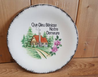 Vintage French May God Bless This House Religious Collectible Decorative Plate New Home House Warming Gift for Christians Catholics Japan