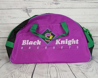Vintage Black Knight Racquets Never Used Tennis Travel Duffel Gym Bag w/ Shoulder Strap and Handles Luggage Zippers 90s Sport Gear NOS
