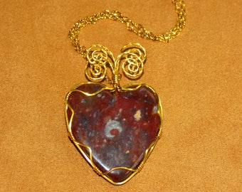 218 Three wire gold jasper heart with four spirals
