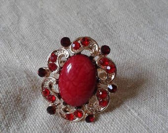 """Golden ring """"flower and Red cabochon"""""""