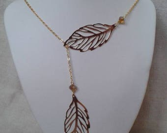 "necklace ""two golden leaf and pearls"""