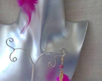 "Earrings ""fuchsia Rooster feather"""