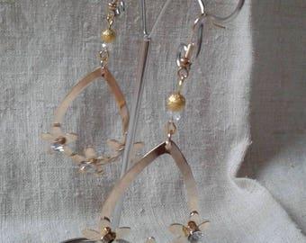 """three gold and rhinestone flowers"" earrings"