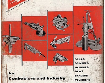 """Milwaukee Electric Power Tools Workshop Ad 10"""" x 7"""" Retro Look Metal Sign"""