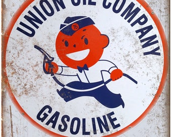 "Porcelain Look Union Oil Company Gasoline 10"" x 7"" Retro Look Metal Sign"