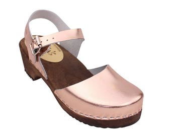 Swedish Clogs Low Wood Rose Leather Brown Base by Lotta from Stockholm / Wooden Clogs / Sandals / Low Heel / Mary Jane Shoes