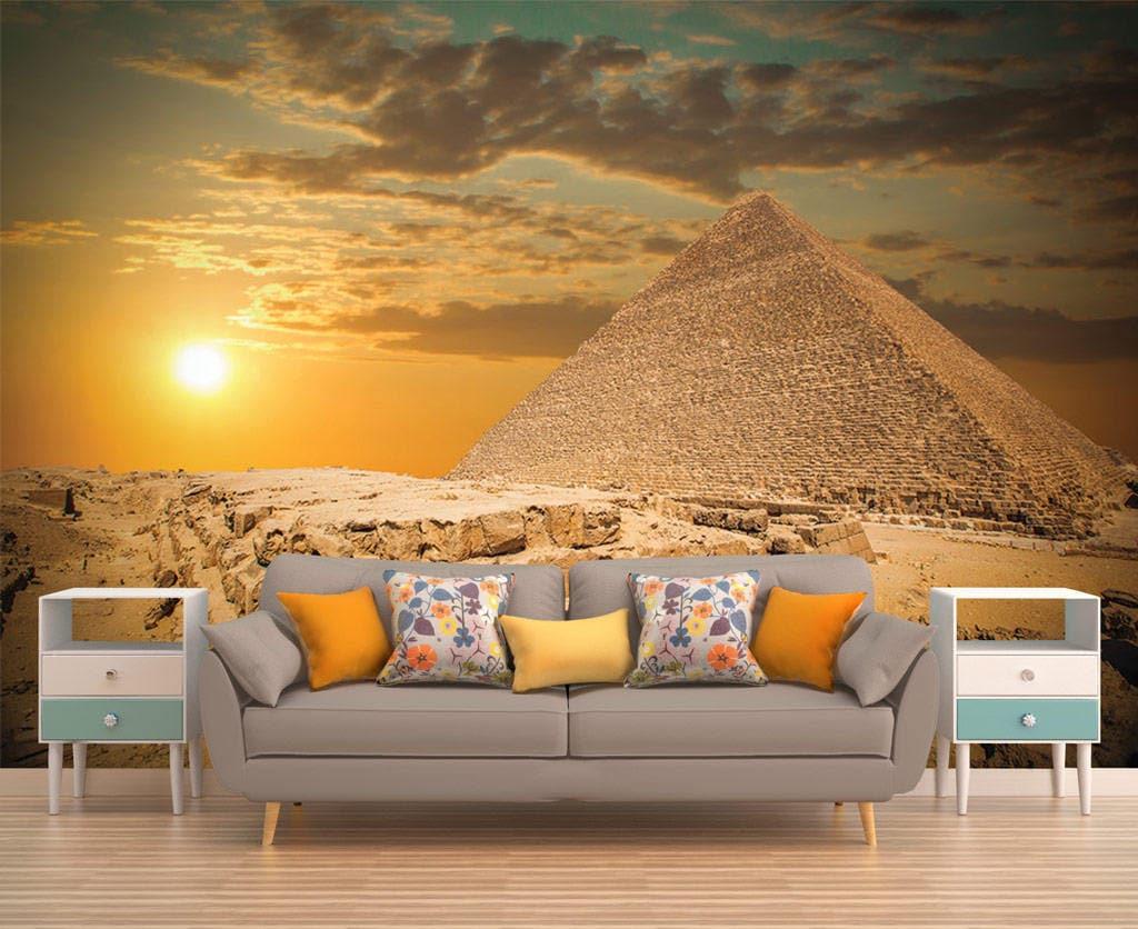 Wall Decor Peel And Stick Mural Egypt Pyramids Wallpaper Sunset Art